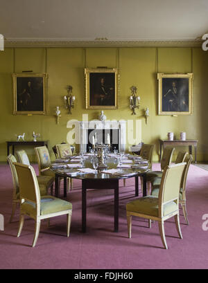 The Dining Room at Mount Stewart House, Co. Down, Northern Ireland. The Siena and white marble chimneypiece dates - Stock Photo