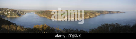 Panoramic view over the Salcombe estuary towards Rickham Common and Portlemouth Down  from the coastal path at Bolt - Stock Photo