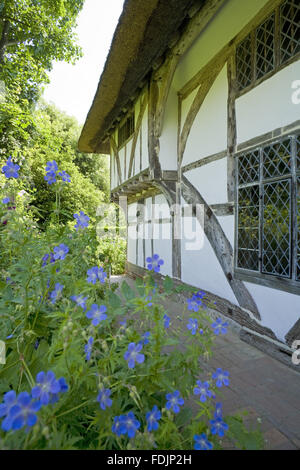 Alfriston Clergy House, a fourteenth-century Wealden hall house in a cottage style garden in East Sussex. - Stock Photo