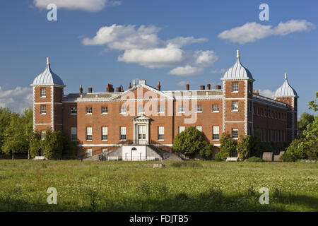 The west or garden front of the house with curved stairs at Osterley, Middlesex. The house was originally Elizabethan, and remodelled in 1760 - 80 by Robert Adam.
