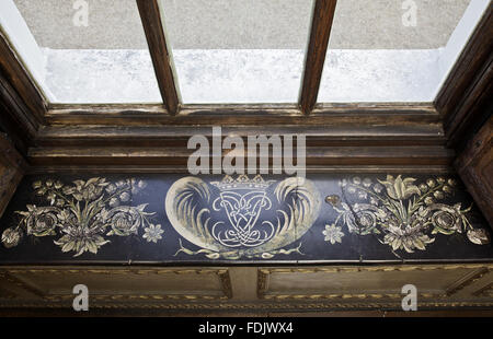 Scagliola window-sill, with the Lauderdale cipher and coronet, by Baldassare Artima in the Queen's Closet at Ham - Stock Photo