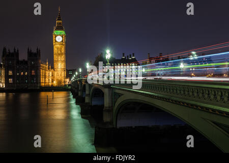 Light trails on Westminster Bridge, London, England, United Kingdom - Stock Photo