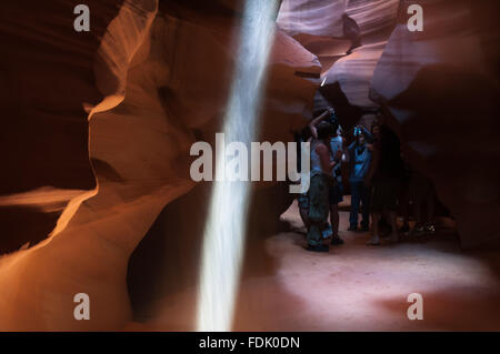 Antelope Canyon is the most photographed slot canyon in the American Southwest. It is located on Navajo land near - Stock Photo