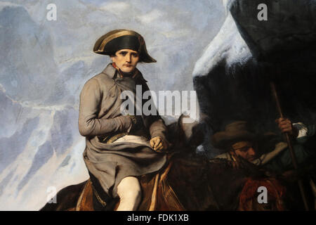 Napoleon Bonaparte (1769-1821). Bonaparte Crossing the Alps, 1850. By Paul Delaroche (1797-1856). Journey Napoleon - Stock Photo