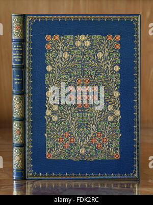 Binding of 'Elegy Written in a Country Churchyard' by Thomas Grey, at Anglesey Abbey, Cambridgeshire. - Stock Photo
