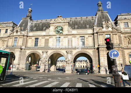 Facade of the Louvre museum in Paris, view from the pont (bridge) du Carrousel - Stock Photo