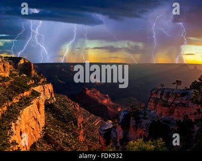 Lightning over the Grand Canyon seen from Hermit's Rest, South Rim, Arizona, America, USA - Stock Photo