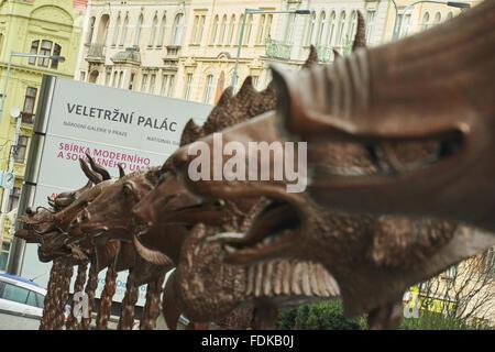 Prague, Czech Republic. 01st Feb, 2016. Circle of Animals/Zodiac Heads by contemporary Chinese artist Ai Weiwei, - Stock Photo
