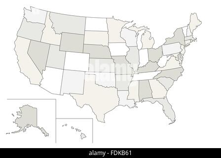 Stylized vector map of the United States. Each state can be selected individually - Stock Photo