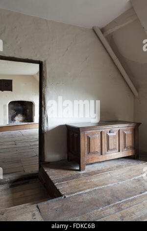 A corner and doorway of Mr Keiller's bedroom, with a view into his dressing-room, Avebury Manor, Wiltshire, April - Stock Photo