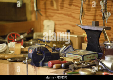 The tool cupboard in Lord Nuffield's Bedroom at Nuffield Place, Oxfordshire. The house was designed and built in - Stock Photo
