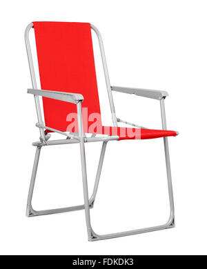 Red folding chair isolated on the white background - Stock Photo