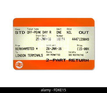 An outbound train ticket - Stock Photo
