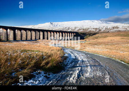 Ribblehead Viaduct and Whernside in Winter Ribblehead Yorkshire Dales England - Stock Photo