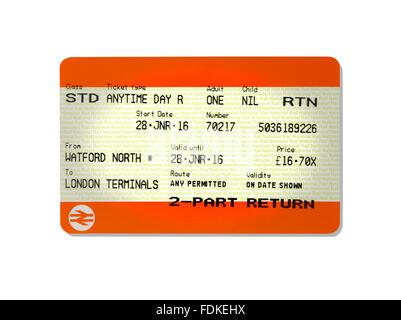 A return train ticket - Stock Photo