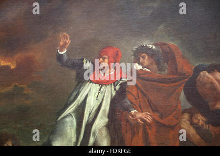 The Barque of Dante or Dante and Virgil in Hell by Eugene Delacroix (1798-1863), 1822. Oil on canvas. Romanticism. - Stock Photo