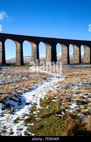 Ribblehead Viaduct in Winter Ribblehead Yorkshire Dales England - Stock Photo