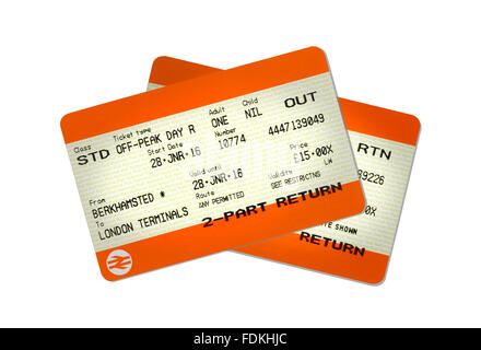 A pair of train tickets, outward and return journey. - Stock Photo