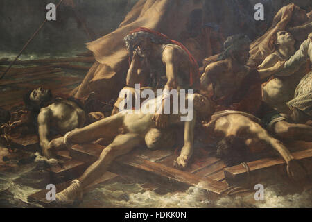 The Raft of the Medusa by  French painter Theodore Gericault (1791-1824). 1818-1819. Romantic style. Louvre Museum. - Stock Photo