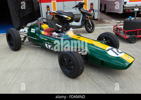 Jim Clarks, Lotus 32, Formula 2 racing car, built by team Lotus in 1964, on display at the Silverstone Classic 2015. - Stock Photo