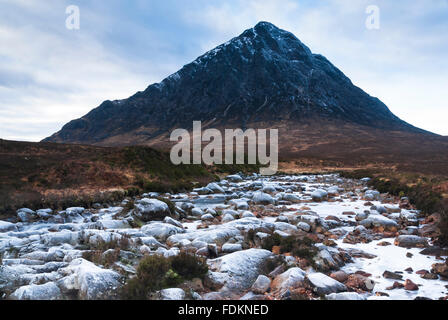 Buachaille Etive mor with the River Coupall in the foreground - Stock Photo