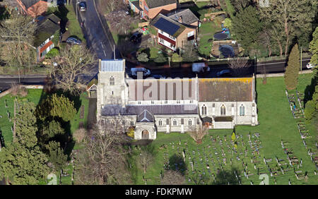 aerial view of St Andrews Church in Chinnor, Oxfordshire, UK - Stock Photo