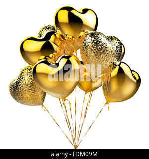 Golden balloons in the shape of heart for celebration - Stock Photo