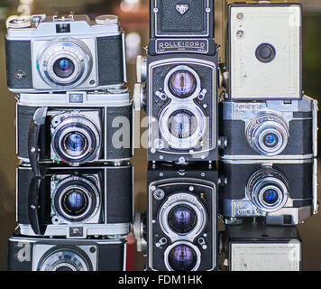 A collection of vintage cameras - Stock Photo