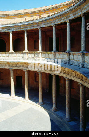 Courtyard of Carlos V Palace. La Alhambra, Granada, Spain. - Stock Photo