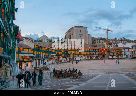 Main Square, night view. Chinchon, Madrid province, Spain. - Stock Photo