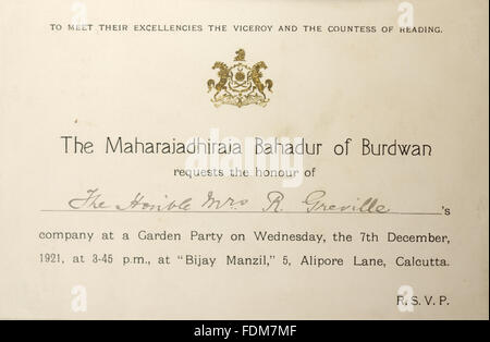 An invitation to a garden party during Mrs Greville's tour of India, on 7th December 1921 at Bijay Manzil, 5 Alipore - Stock Photo