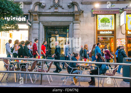 Terraces in Gran Via street, night view. Madrid, Spain. - Stock Photo