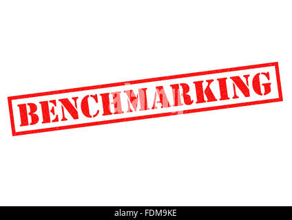 BENCHMARKING red Rubber Stamp over a white background. - Stock Photo