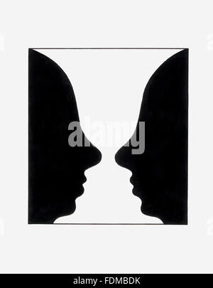 Reversible figure, forming shape of two faces or vase-like shape - Stock Photo
