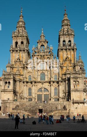 Spain, Galicia, Santiago de Compostela, Santiago de Compostela Cathedral - Stock Photo