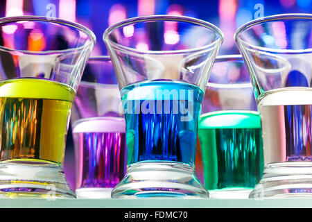 Set of color alcohol drinks in shots from below - Stock Photo