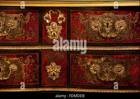 Detail of Boulle commode, early 18th century, in the Cabinet at Felbrigg Hall, Norfolk. NT Inventory number: 1403142 - Stock Photo