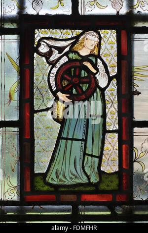 Sir Edward Burne-Jones stained glass window 'Fate', in the Passage at Red House, Bexleyheath, Kent. - Stock Photo
