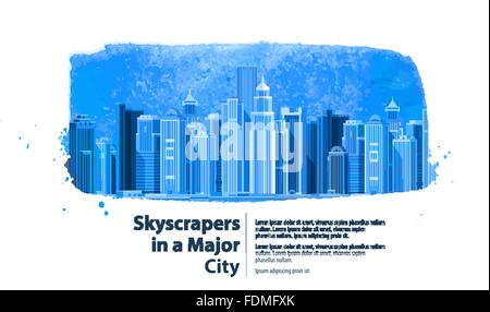 skyscrapers in a major city. vector illustration - Stock Photo