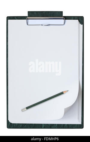 Clipboard with sheet of paper and pencil isolated on the white background. - Stock Photo