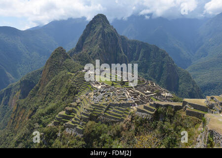 Machu Picchu, Peru, UNESCO World Heritage Site in 1983. One of the New Seven Wonders of the World. - Stock Photo