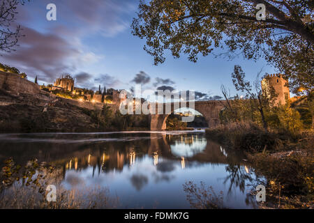 Puente de San Martin on the River Tajo / Tejo - Bridge XIV century gothic style - Stock Photo