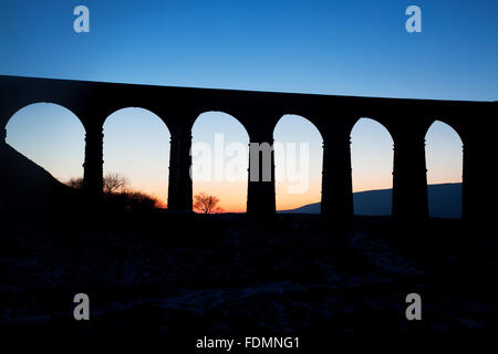 Arches of the Ribblehead Viaduct at Dusk Ribblehead Yorkshire Dales England - Stock Photo