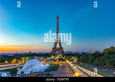 Eiffel Tower seen at sunrise from Esplanade du Trocadero in Paris. - Stock Photo