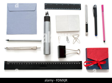 Isolated set of stationary  goods over white - Stock Photo