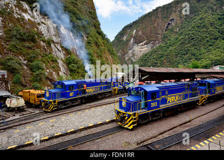 Terminus of the Peruvian southern railway Ferrocarril del Sur, Aguas Calientes, Cusco Province, Peru - Stock Photo