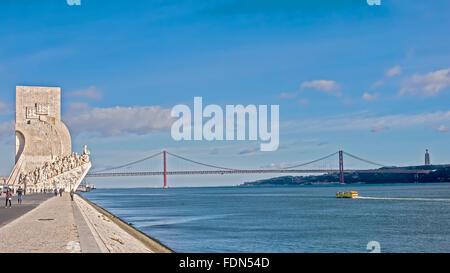 Bridge over the Tagus River Lisbon Portugal - Stock Photo