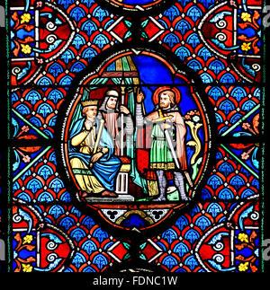 Tours Cathedral (Cathédrale Saint-Gatien de Tours) France French ( leaded window ) - Stock Photo