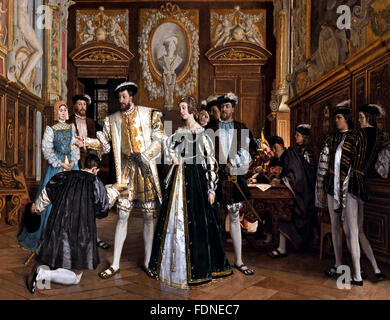 Francis I François I (1494 – 1547 ) King of France Rosso gives the title and benefits of the Abbey of St. Martin - Stock Photo