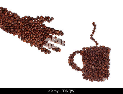 Studio shot of a Hand and coffee cup made of coffee beans - Stock Photo